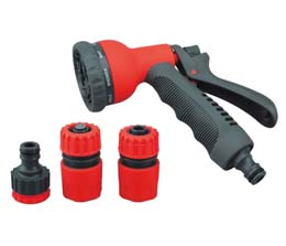 SPRAY GUN SET ADJUSTABLE 8 PATTERN 5 PIECE